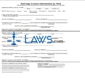 Form Marriage License Information