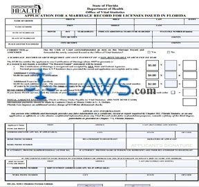 Form DH 261 Application for Marriage Record