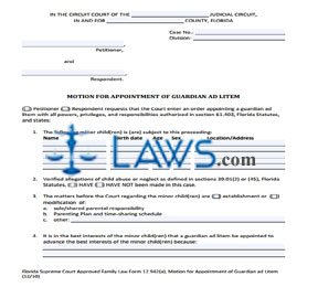 Form 942a Motion for Appointment of Guardian Ad Litem - Florida ...