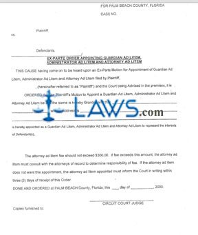 Form Ex Parte Order Appointing Guardian Ad Litem, Administrator Ad Litem and Attorney Ad Litem