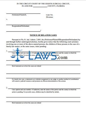 Notice of Related Cases Form