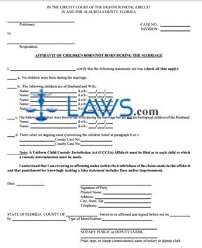Affidavit Of Children Born/Not Born During The Marriage