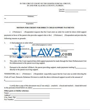 Motion For Credit For Direct Child Support Payments