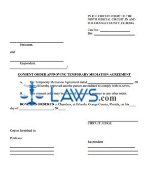 Temporary Mediation Agreement Order