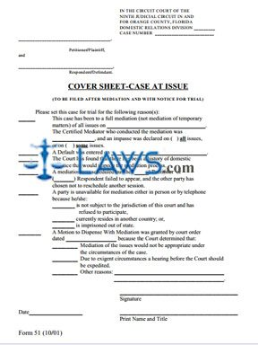 Form 51 - Cover Sheet-Case at Issue