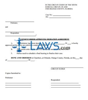 Consent Order Approving Mediation Agreement