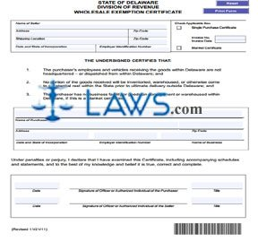 Form 373 Wholesale Exemption Certificate