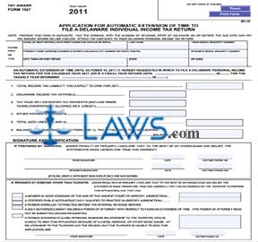 Form 1027 Application For Automatic Extension Of Time To File A Delaware  Individual Income Tax Return