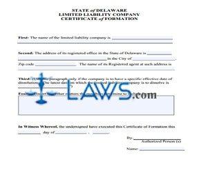 Form DE LLC Certificate of Formation