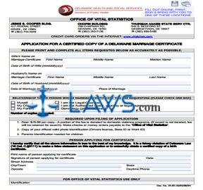 Form Application for a Certified Copy of a Delaware Marriage Certificate