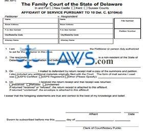 Form 277 Affidavit of Service