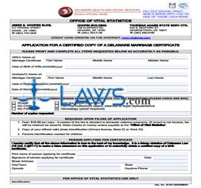 APPLICATION FOR A CERTIFIED COPY OF A DELAWARE MARRIAGE CERTIFICATE