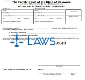 Form 652 Motion and Affidavit for Interim Relief