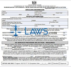 Form :2008 Subsequent Offender New Ignition Interlock Program Application