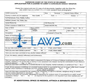 Form Application for a License to Carry a Concealed Deadly Weapon