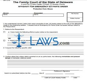 Form 654 Affidavit for Emergency Ex Parte Order