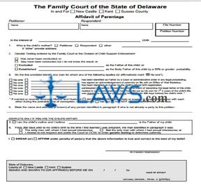 Form 154 Affidavit of Parentage