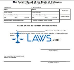 Waiver of Time to Contest Divorce Hearing