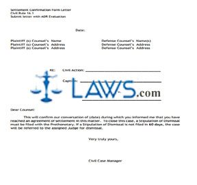 Settlement Confirmation Letter