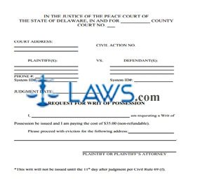 REQUEST FOR WRIT OF POSSESSION