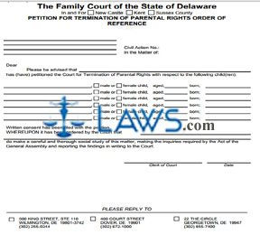 Order of Reference in Termination of Parental Rights Action