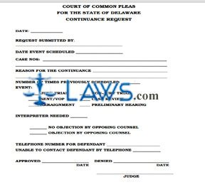 Criminal Case Continuance Policy and Form
