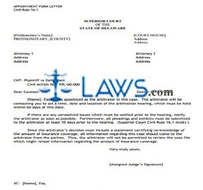 Arbitration Appointment Letter