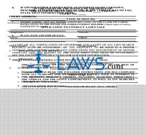 APPLICATION TO CONDUCT A LIEN SALE