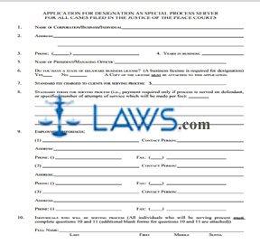 APPLICATION FOR DESIGNATION FOR A SPECIAL PROCESS SERVER