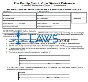 Affidavit and Request to Register Inter-State Support Order
