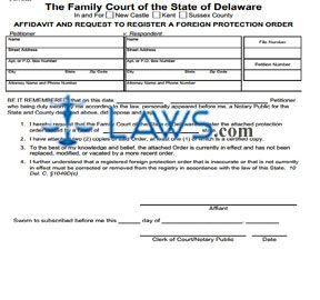 Affidavit and Request to Register a Foreign Protection from Abuse Order