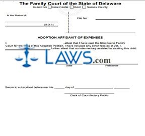 Adoption Affidavit of Expense
