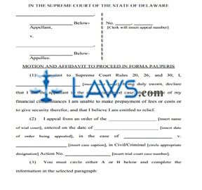 In Forma Pauperis - Delaware Forms - | Laws.com