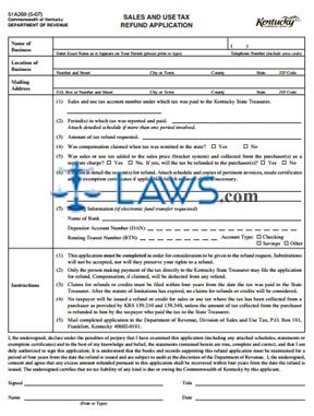 Form 51A209 Sales and Use Tax Refund Application