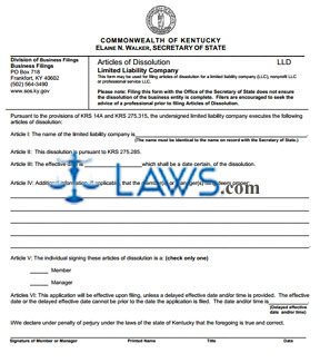 Form LLD Articles of Dissolution