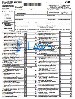 Form 41A720-S3 Amended KY Corporation Income Return