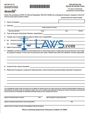 Form 40A100 Application of Refund of Income Taxes