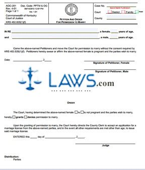 Petition and Order for Permission to Marry