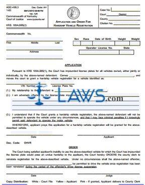 Application and Order for Hardship Vehicle Registration