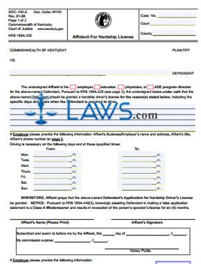 Affidavit for hardship license kentucky forms for Kentucky out of state fishing license