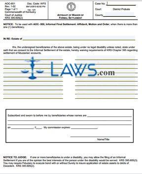 Affidavit of Waiver of Formal Settlement