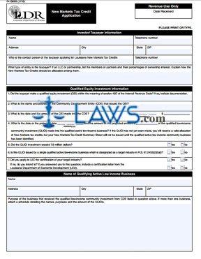 Form R-10609 New Markets Tax Credit Application