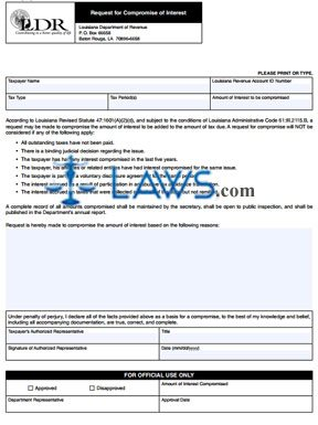 Form R-20130 Request for Compromise of Interest