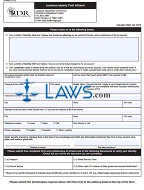 Form R-2000 Louisiana Identity Theft Affidavit