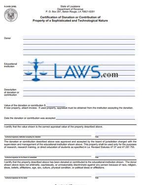 Form R-3400 Certification of Donation or Contribution of Property of a Sophisticated and Technological Nature