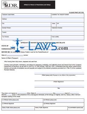 Form R-6404 Affidavit of Waiver of Restrictions and Delays