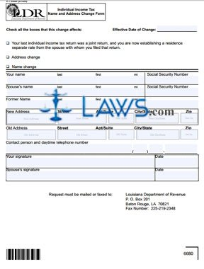 Form R-6505 Individual Income Tax Name and Address Change Form