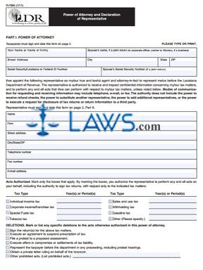 Form R-7006 Power of Attorney and Declaration of Representative