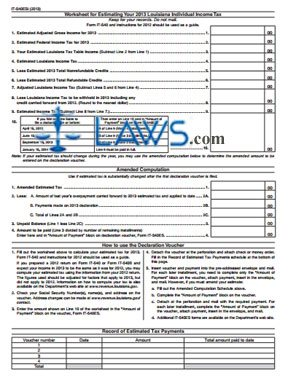 Form IT-540ES Estimated Tax Voucher for Individuals Instructions