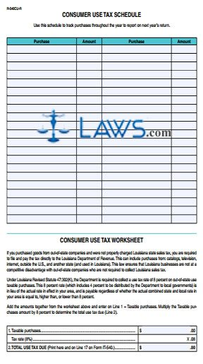 Form 540CU-R Resident Consumer Use Tax - Louisiana Forms -   Laws.com